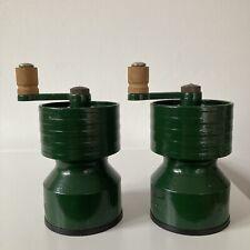More details for vintage salter green cast iron salt and pepper grinders - robert welch design