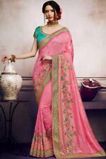 Pink Embroidered Indian Bollywood Saree Party Wear Ethnic Wedding Designer Sari