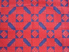 """Red Bandanna Fabric 1 Yard Red with Denim Blue 44"""" W Sewing/Quilting Brand NEW"""