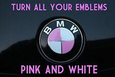 TURN YOUR BMW EMBLEM PINK & WHITE - BMW Colored Emblem Roundel Overlay