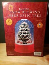 Fiber Optic Musical Santa Sleigh Reindeer Tree Snow Globe Animated 15� Blowing