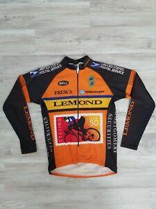 Lemond Vintage Long Sleeve USPS Cycling Jersey Large Black Orange Yellow RARE
