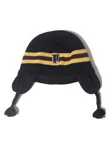 Polo Ralph Lauren Baby Boys Cotton Ear Flap Hat Navy Yellow Red Stripe