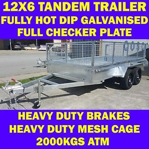 12x6 galvanised tandem box trailer with cage heavy duty