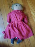 """SWEET antique, ART FABRIC MILLS (labeled: pat. 1900) primitive cloth 17"""" doll"""