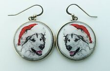 Santa Alaskan Malamute Original Art Christmas Earrings