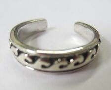 Sterling Silver Adjustable Toe Ring Wave Design Solid 925 Oxidized Jewelry