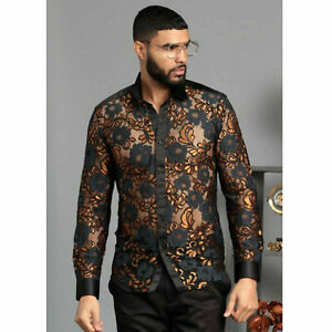 Mens Manzini Shirt Gold Black Floral Lace See Through Button Up Silky Collar