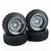 RC 4X Rubber Rally Tires&Wheel Rim 12mm Hex For HSP HPI 1:10  Off Road  Car Set