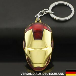 Iron Man Maske Helm Figur Marvel Comic Metall Schlüsselanhänger Game Film Held