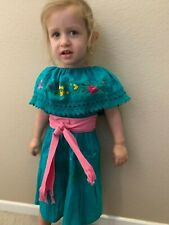 Girls Dress Mexican Lace Emerald Embroidered included Sash Gypsy Size 2-3T