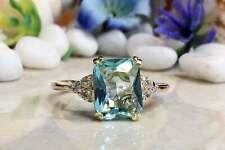 2Ct Emerald Cut Aquamarine Engagement Cocktail Ring 14K Yellow Gold Finish