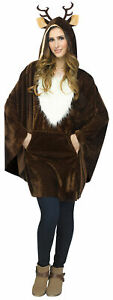 ADULT REINDEER PONCHO CAPE CHRISTMAS COSTUME ACCESSORY FW7776R
