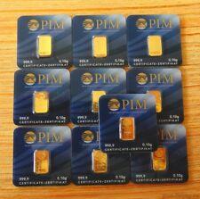 10x Goldbarren á 0,10 Gramm PIM 999,9 Au Gold Barren 1g 0,1g NEU+OVP LBMA Zertif