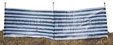 Paravent de plage jardin rayé bleu marine / blanc 3 piquets bois 300 x 90cm NEUF