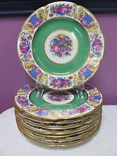 8 Black Knight Czechoslovakia Green Gold Porcelain Floral Plates