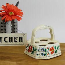 More details for retro ceramic egg storage & handle. hand painted vibrant flower decoration.