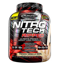 Muscletech Nitro Tech RIPPED Protein 4 lbs, 42 Servings FRENCH VANILLA SWIRL