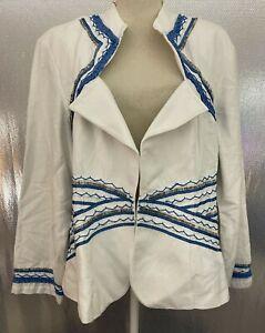 Ashro Plus Sz 22W White Blue Beaded Lined Linen Blend Formal Church Jacket NWT