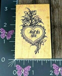 PSX Designs Rubber Stamp Just For You F-668 Heart Bouquet Flowers  #C50