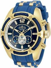 31460 Invicta Mens Bolt Quartz Chrono 52mm Gold Case Blue SIlicone Strap Watch