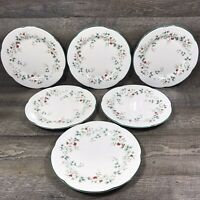 Pfaltzgraff WINTERBERRY Dinner Plates Christmas Holly Berries Stoneware Set of 6