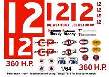 #12 Joe Weatherly Holman - Moody 1960 Ford 1/64th Ho Scale Slot Car Decals
