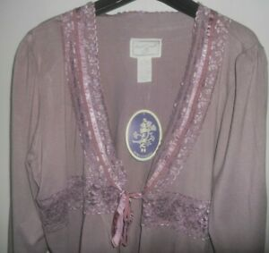 NWT Vintage April Cornell Lavendar Luscious Lace Stretch Cardi XL