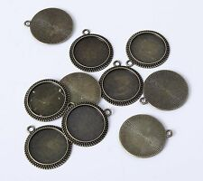 10pcs 20mm Round Antique Bronze Bezel Cameo Pendant Cabochon Setting
