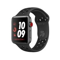 Apple Watch 38mm Gray Aluminium Case w Anthracite/Black Nike Band - GPS Cellular