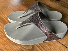 FitFlop Pewter Electra Micro Toe Post Flip Flop Sandals Sequin Womens Size 6