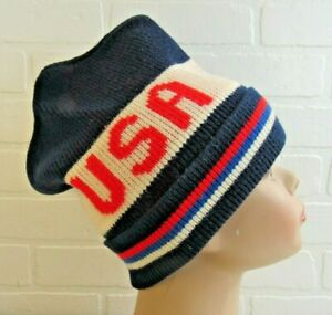 Vintage Knit Ski Snow Hat  Unisex USA RED/WHITE BLUE TOBAGGAN PATRIOTIC AMERICA