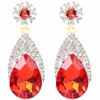 Luxury Diamond Shine Full Rhinestones Red Long Drop Stud Earrings E1226R