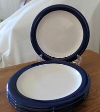 Set of 4 Mikasa Color Complements Navy Band Dessert/Salad/Bread & Butter Plates