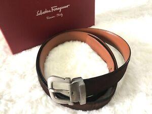 Authentic Salvatore Ferragamo Brown Suede Removable Leather Buckle Belt Men