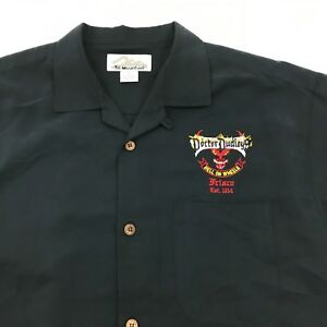 NEW Doctor Dudleys Button Up Shirt Mens Size Medium Black Pleated Back Polyester
