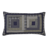COLUMBUS Luxury King Sham Quilted Navy Blue/Tan Log Cabin Plaid Primitive 21x37
