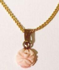 pendentif chaine bijou vintage petite fleur gravé relief corail rose * 4898