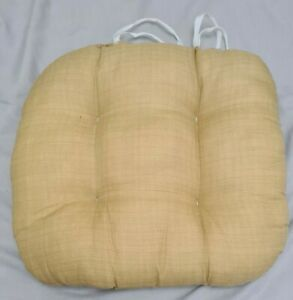 """Textured Chair seat Pads cushions with ties Gold Plaid By Home 15"""" x 15"""" 4 pads"""