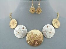 Silver Gold Circles With Flowers Necklace Set Crystal Fashion Jewelry NEW