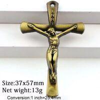 Art Deco Antique Bronze Crucifix Pendant - TOUCHED TO RELIC OF TRUE CROSS