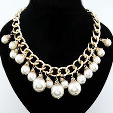 Perlen Halskette Collier Statement Kette Gold XL Perle Braut Kette Neu