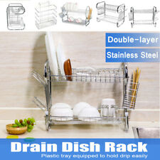2 Tier Dish Rack Utensil Holder Drainer Kitchen Multi-Function Plated Chrome  !