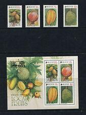 Singapore 1993  local fruits flora    set & sheet  , MNH