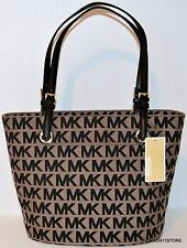 Michael Kors Jet Set Item Satchel Beige/Black Bag Handbag Sac Bolsa Purse NWT