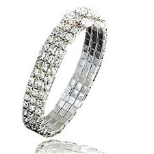 3 Row Clear Crystal White Gold Plated Bracelet