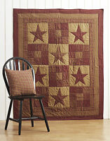 Ninepatch Star PATCHWORK Quilted Throw Primitive Plaid Burgundy Red/Khaki Tan