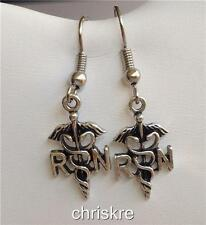 Silver Plated RN Nurse Earrings Caduceus Nursing Nurses Gift Box USA Seller