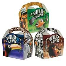 24 Childrens Kids Safari Animal Carry Food Birthday Party Bag Meal Boxes
