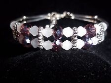Hot Tibet Silver Fashion Jewelry Purple/White Crystal Bead Bangle Bracelet B-57